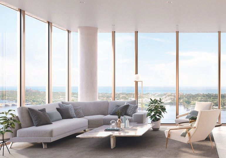 A living area in one of the 83 luxury residences